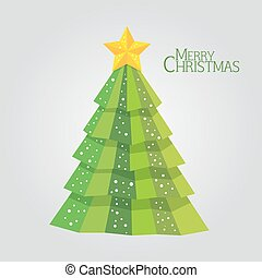 Abstract green christmas tree background, Trendy design template