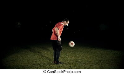 Soccer Player Control A Ball Slow Motion - Soccer player...