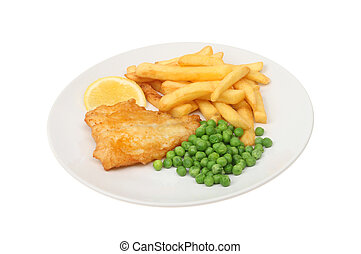 Fish and chips - baterred fish, chips and peas with a wedge...