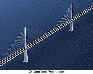 Suspension bridge - 3d rendering of modern suspension bridge...
