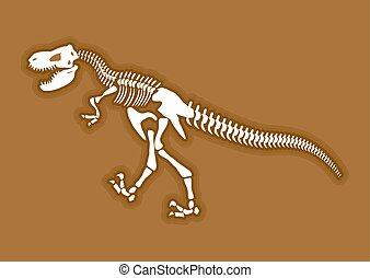 Dinosaur skeleton Ancient animal bones in ground...