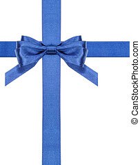 blue satin bows and ribbons isolated - set 3 - one blue...