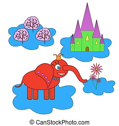 elephant princess flying on a cloud and looking at her kingdom