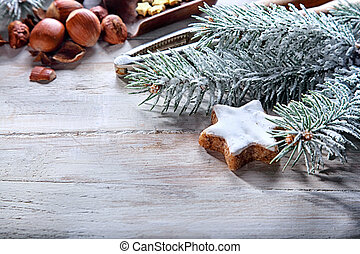 Cool tone winter Christmas nuts background