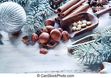 Christmas nuts and spices background