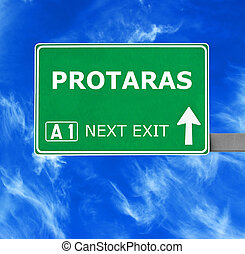 PROTARAS road sign against clear blue sky