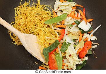 Stir fry in wok - Closeup of stir fry ingredients in a wok...