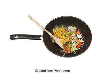 Stir fry ingredients, vegetables and noodles in a wok...