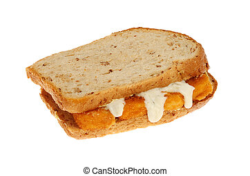 Fish finger sandwich made with multi grain brown bread with...