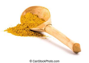 jaune, curcuma, bois, cuillère