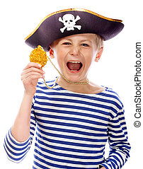 Pirate shouting - Close up portrait of angry pirate...