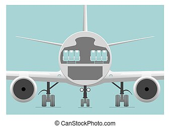 Fuselage cross section. Vector illustration. EPS 10, opacity...