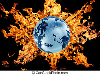 mother Earth against a flame - planet symbol Earth against a...