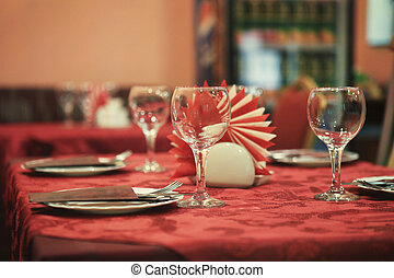 served table in cafe - table in cafe served for reception of...