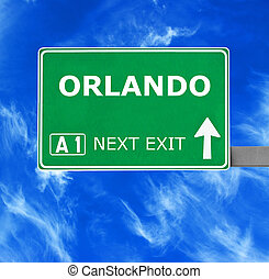 ORLANDO road sign against clear blue sky