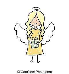 Vector Christmas Angel - Vector Illustration of a Childrens...