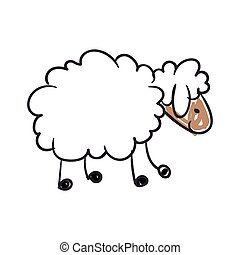 Vector Sheep - Vector Illustration of a Children's Drawing...