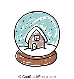 Vector Snow Globe - Vector Illustration of a Children's...