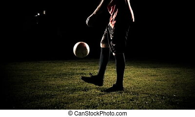Player Kicking A Soccer Ball Slow Motion - Player kicking a...