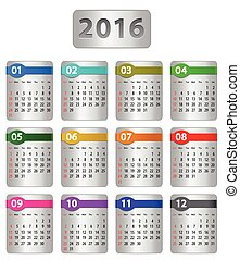 2016 Calendar - Calendar for 2016 year with colorful...