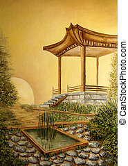 Oil painting of Japanese landscape - Original oil painting...