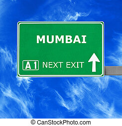 MUMBAI road sign against clear blue sky