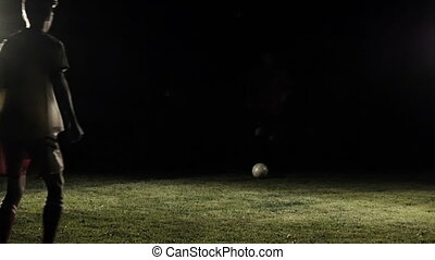 Soccer Play Dribbling The Ball In Slow Motion - Soccer play...