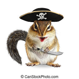 Funny animal pirate, chipmunk with filibuster hat and sabre...