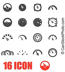 Vector grey meter icon set on white background