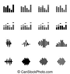Vector black music soundwave icon set on white background