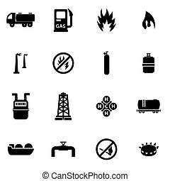 Vector black natural gas icon set on white background