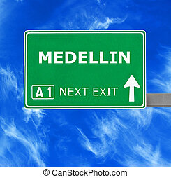 MEDELLIN road sign against clear blue sky