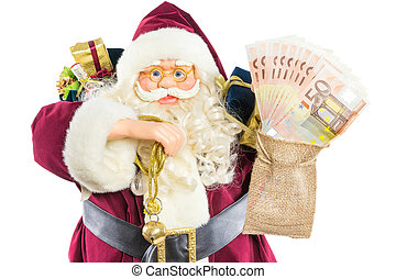 Model of Santa Claus with ringing bell gifts and money -...