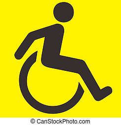 Handicap Sign - A black and Yellow handicap sign