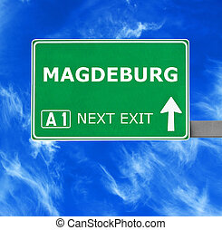 MAGDEBURG road sign against clear blue sky