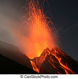 Stromboli volcano - Strombolian eruption at the Stromboli...