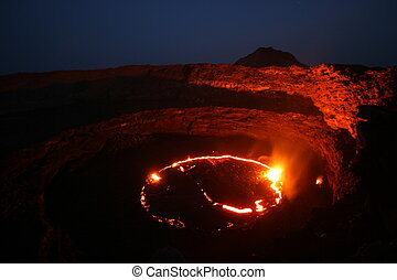 Erta Ale volcano with Lava lake - Tw glowing lava lake of...