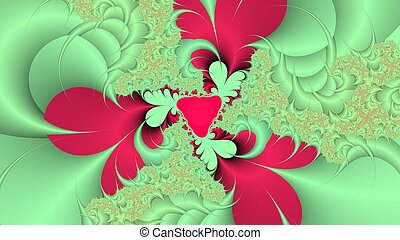 Green and red fractal background - Digitally created...