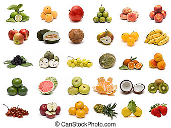 Fruit collection. - Collection of fruits isolated on a white...