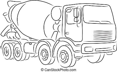 Outline of concrete mixer truck, vector illustration -...
