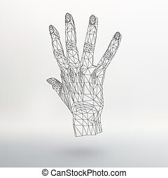 Mesh polygonal background hand of lines. The structural grid...