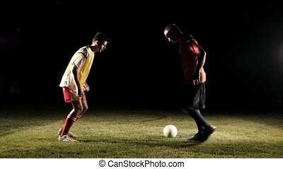 Duel Of Football Players At Soccer Slow Motion