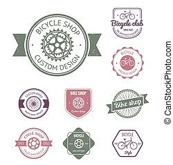 Set of  bicycle shop logo badges and labels made in vector