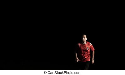 Soccer Player Heads Ball Slow Motion - Male soccer player...