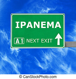 IPANEMA road sign against clear blue sky