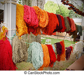 Freshly Dyed Wool Yarn - Skeins of freshly dyed spun wool...