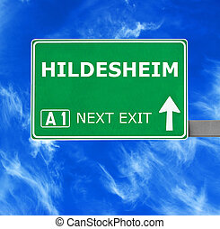 HILDESHEIM road sign against clear blue sky