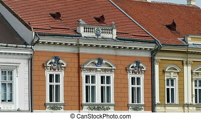Architectural details at historical buildings in Timisoara,...