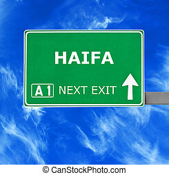HAIFA road sign against clear blue sky