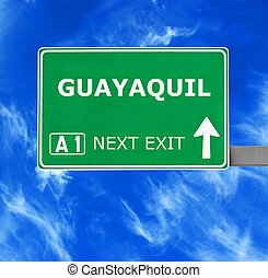 GUAYAQUIL road sign against clear blue sky